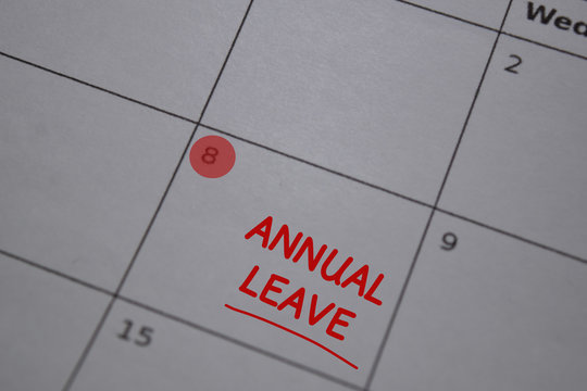 Annual Leave write on calendar. Date 8. Reminder or Schedule Concepts