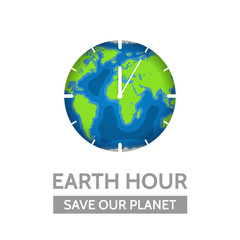 Earth Hour concept. Vector illustration of the planet and clock with lettering Save Our Planet