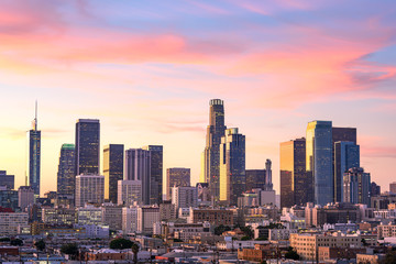 Downtown Los Angeles  skyline at sunset Fotomurales