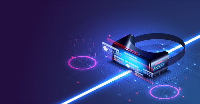 Virtual or augmented reality concept in isometric illustration. VR helmet in futuristic style. Creative futuristic concept. Modern template for web and print. Future concept illustration. Technology