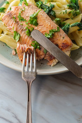 Italian Salmon Alfredo Penne