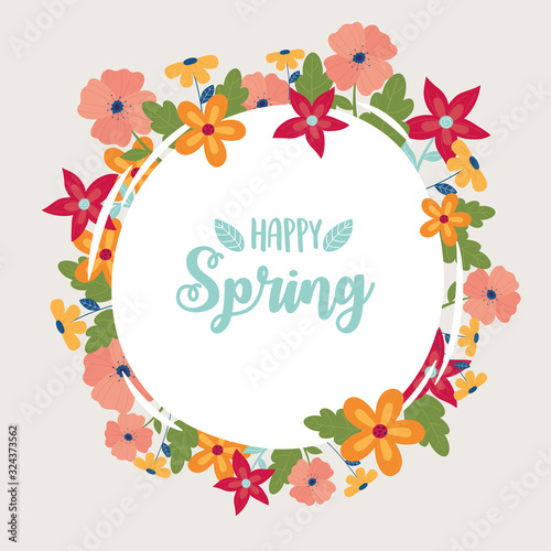 Wall mural happy spring round banner flowers frame decoration
