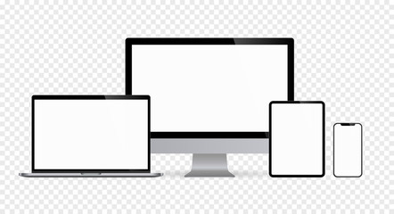 Realistic set monitors desktop laptop tablet and phone with white screen and checkerboard background V4. Isolated illustration vector illustrator Ai EPS
