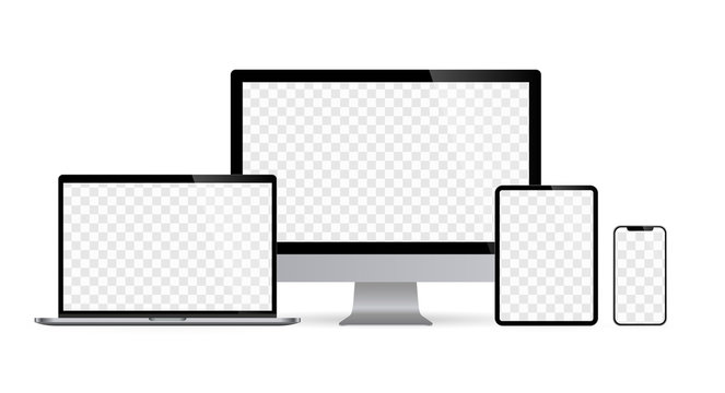 Realistic set of computer monitors desktop laptop tablet and phone with checkerboard screen and white background V4. Isolated illustration vector illustrator Ai EPS