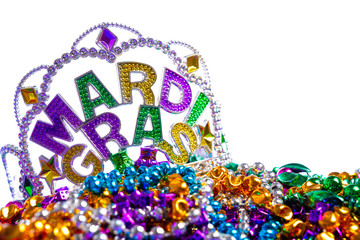 Wall Mural - Mardi Gras crown with beads on white background