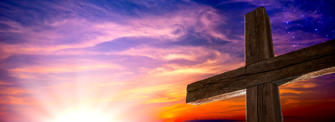 The Old Rugged Cross At Sunrise With Clouds And Starry Sky - Crucifixion/Resurrection Of Jesus Christ Concept