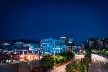 Fototapete - Night scenery of the Waterfront in Wellington City