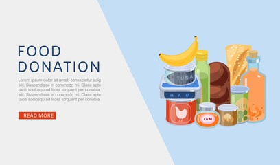 Food donation vector web banner illustration. Charity, food donation for needy and poor people. Canned meat, fruits, tins of tuna fish donated to deprived, social aid contribution webpage. Fotomurales