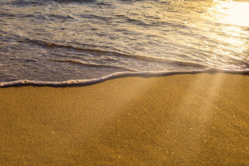 Soft wave from sea come to wet sand beach and sun ray background. With copy space for text or...