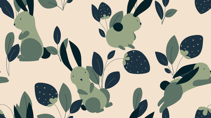 Animal seamless pattern, cute rabbits with strawberries and leaves in green tones on light brown