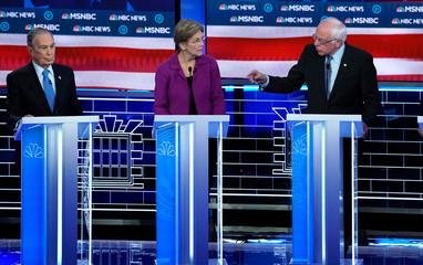 Senator Bernie Sanders speaks during the ninth Democratic 2020 U.S. presidential debate at the Paris Theater in Las Vegas, Nevada, U.S.,