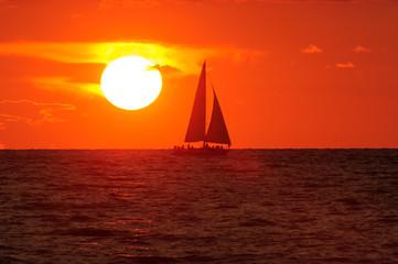 Wall Mural - Ocean Sunset Sailing Sailboat