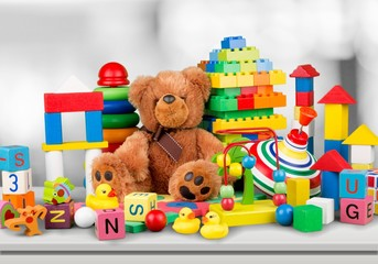 Many colorful toys collection on desk