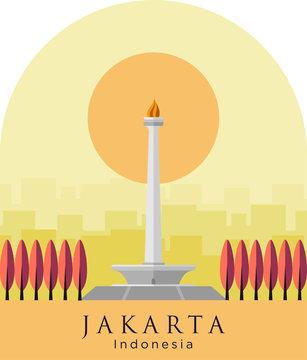 Monas Flat Vector Design Illustration. National Monument of Indonesia the Landmark of Jakarta City. Monumen Nasional Jakarta Tugu Monas, Capital City of Indonesia.