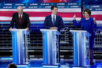 Senator Amy Klobuchar gives thumbs up during the ninth Democratic 2020 U.S. presidential debate at the Paris Theater in Las Vegas, Nevada, U.S.,