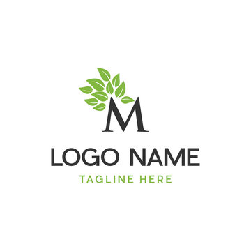 Letter M Leaf Nature Abstract Creative Ecology Business Naturally Logo