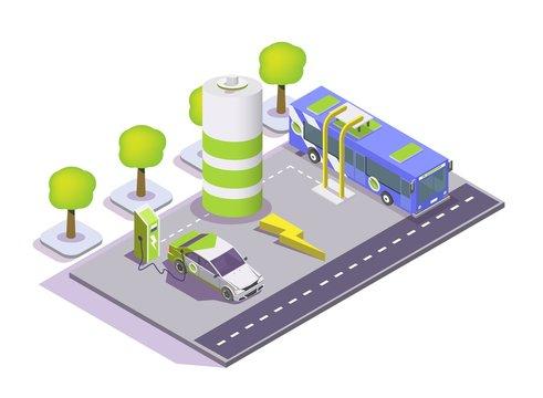 Electric eco transport, vector flat isometric illustration