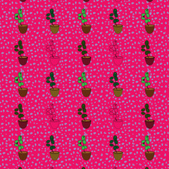beautiful cacti plants in housing succulent. hand made cartoonish pattern for textile, wallpaper, textile etc.