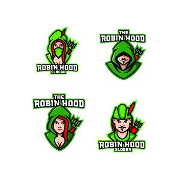 set of robin hood archer logo icon design vector