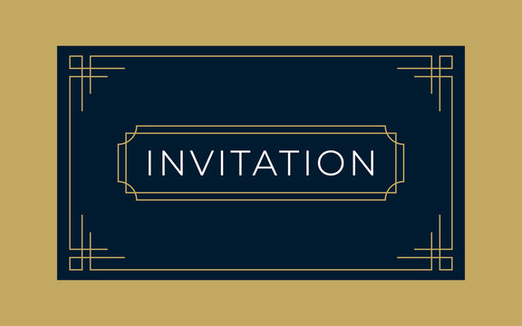 Art Deco Invitation and Gift Card Template (Live Stroke Path)