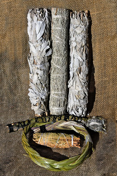 Smudging bundles made from various plants in different shapes and sizes