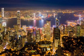aerial view of Hong Kong at night Fotomurales
