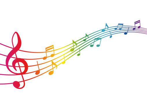 レインボーカラーの楽譜イラスト