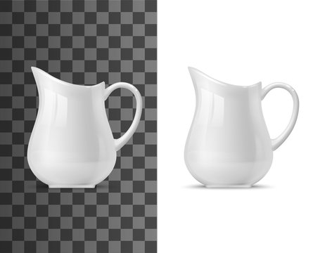 Creamer or milk pot vector templates of white ceramic tableware. 3d porcelain jug, pitcher, coffee or tea creamer with handle on transparent and white background