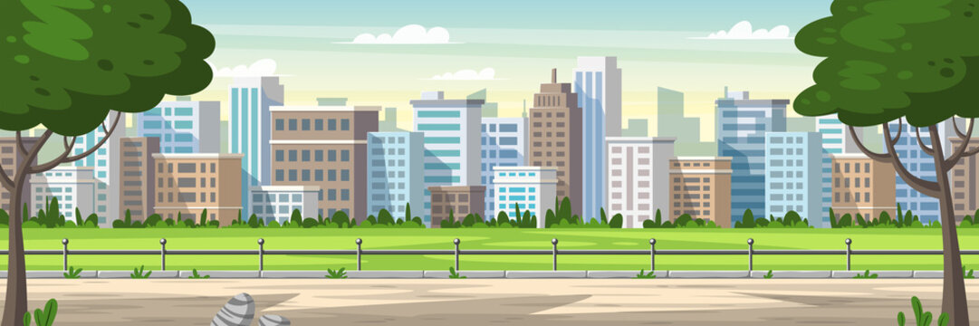 Panorama cityscape with park and trees. Cartoon Vector Illustrations with separate layers.