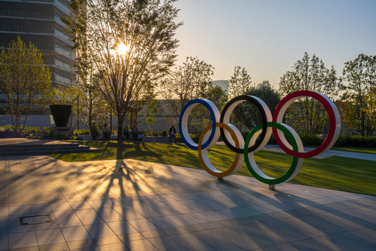 TOKYO, JAPAN - November 1,2019 : The five ring symbol of the Olympic Games at tokyo museum with sun light and flare. Japan will host the Tokyo 2020 summer olympics and Paralympic.
