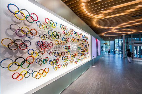 TOKYO, JAPAN - November 1,2019 : The five ring symbol of the Olympic Games at Japan olympic museum with a lot of other Olympic logo design in Japan Olympic Museum. Tokyo 2020 olympics and Paralympic.