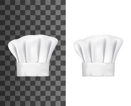 Chef hat or cook cap 3d vector mockups. White baker toque realistic design of professional uniform headwear of restaurant and cafe kitchen staff on transparent and white background