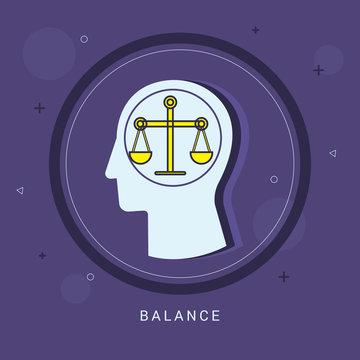 Balance icon concept with human head