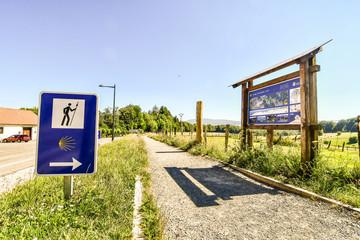 school bus stop sign on the road, photo as a background , in Navarra Aragon Zaragoza spain europe , roncisvalle camino de santiago city