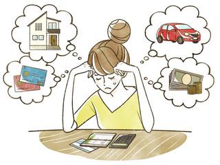 家計、ローンに悩む女性