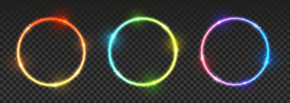 Set of bright neon circles with transparent effects - vector shiny round frames for Your design