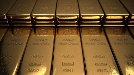 Fototapete - 1000g Goldbarren einer Bank