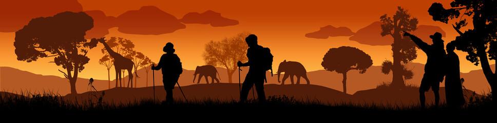 Foto auf Acrylglas Schwarz Beautiful sunset in savanna landscape with wild animals and travelers silhouette