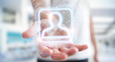 Man using digital blue holographic user interface 3D rendering Fototapete