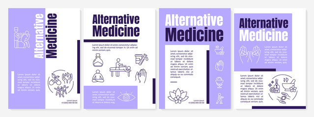 Alternative medicine brochure template. Complementary healing methods flyer, booklet, leaflet print, cover design with linear icons. Vector layouts for magazines, annual reports, advertising posters