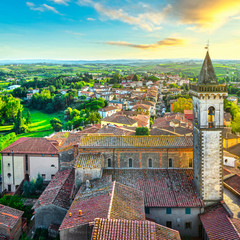 Vinci, Leonardo birthplace, view and bell tower of the church. Florence, Tuscany Italy