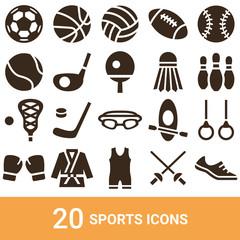 商品アイコン スポーツ シルエット 20セット