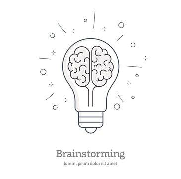 Creative Idea - vector line design style symbol. Light bulb representing ideas - Symbol of creativity, creative idea, thinking.