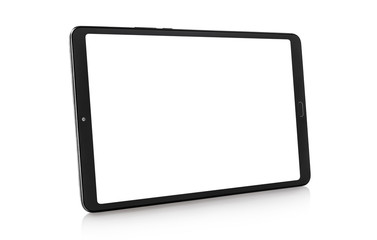 Black tablet computer with blank screen, isolated on white background Fotobehang