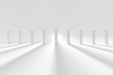 Fotobehang - White Column Hall Design. Futuristic Architecture Background