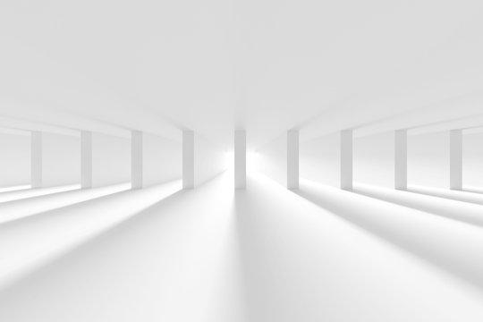 White Column Hall Design. Futuristic Architecture Background