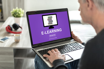 E-learning concept on a laptop screen