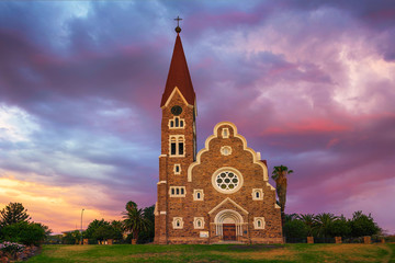 Sunset above Christchurch, a historic lutheran church in Windhoek, Namibia