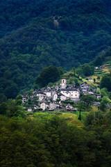 Ancient village of Corippo located near Lavertezzo in Canton Ticino, Switzerland