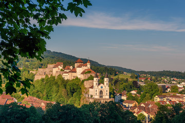 Cityscape of Aarburg and the medieval Aarburg Castle in Switzerland